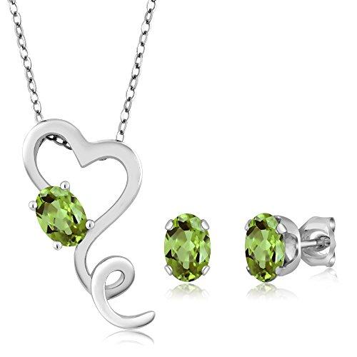 2.12 Ct Green Peridot - August Birthstone - 925 Sterling Silver Heart Pendant Earrings Set