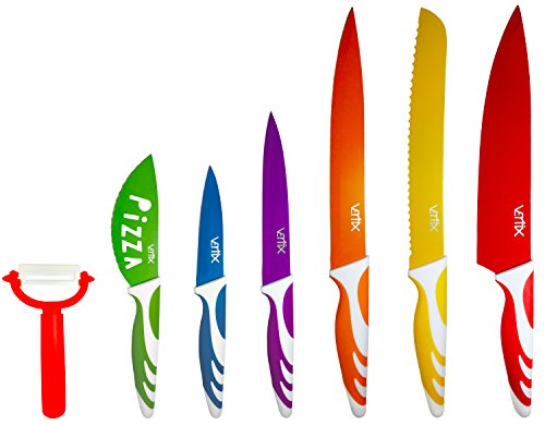 Vertix 7 Piece Kitchen Knife Set - Color Coded Kitchen Knives with Soft-touch Handles