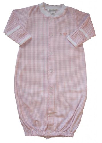 Kissy Kissy Baby Girls Homeward Gingham Embroidered Hearts Convertible Gown-Small front-940703