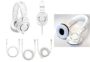 Audio-Technica ATH-M50xWH Professional Headphones - White - with FREE White Velvet Earpads