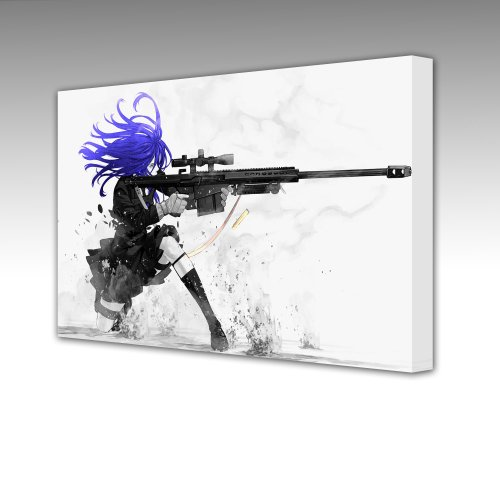 PURPLE HAIRED SNIPER ASSSASSIN GIRL (COMES WITH MATCHING MOUSE MAT) Large 77cm Gallery Framed Giclee Canvas Art Picture Print,New,Framed Ready To Hang NEW