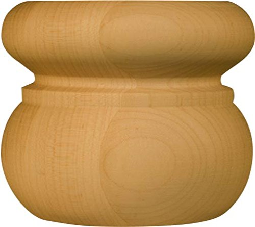 Round Wooden Foot in Maple - Dimensions: 3 x 3 3/8 inches (Unfinished Wood Bun Feet compare prices)