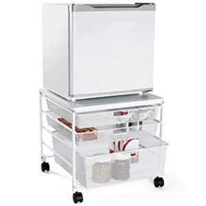 the container store mesh compact fridge cart kitchen storage carts. Black Bedroom Furniture Sets. Home Design Ideas