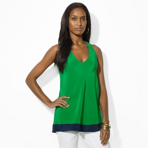 Lauren Ralph Lauren Silk Tank Top Blouse (Green/Navy) (6)