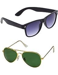 Unisex Uv Protected Combo Pack Of Aviator Sunglasses And Wyafarer Sunglasses ( Black Wayfarer - Golden Green )...