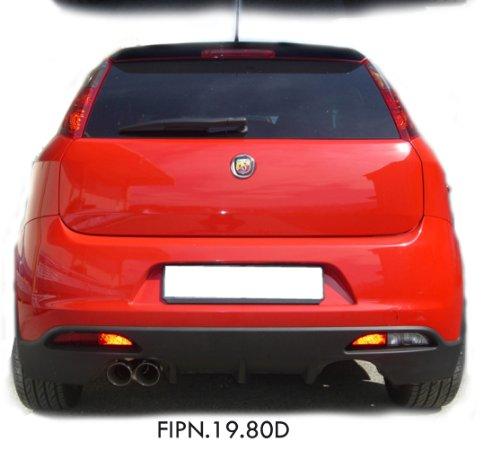 InoXcar FIPN.19.80D Sport Endschalldämpfer aus Edelstahl mit Endrohr für Fiat Grande Punto 1.4 Turbo Abarth, ab Baujahr 06, 2 x 80 mm