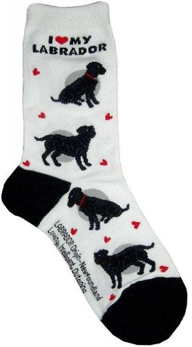 I Love My Black Labrador White Sock Fantasy Hosiery