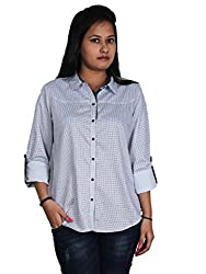 Polita Women's Houndstooth Formal White,blue Formal/Casual Shirt