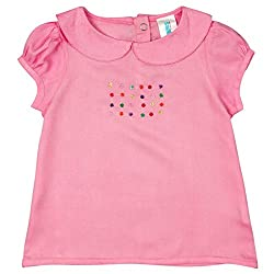 Snuggles Puff Sleeves Dress With Embroidery At Chest- Pink (6-12 M)
