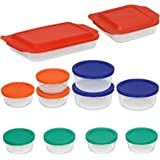 Pyrex Bake and Store 24-Piece Glass Bakeware Set with Multi Color Lids