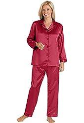 Brushed Back Satin Pajamas - Women's Sizes