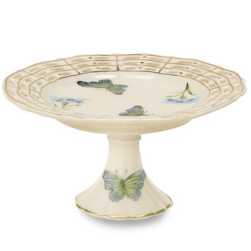 Gracie China by Coastline Imports Pierced Fine Porcelain 4-1/2-Inch Cupcake Stand, Blue Butterfly (Gracie China Cake Stand compare prices)