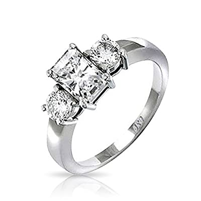 Bling Jewelry Sterling Silver 1.5 ct Emerald Cut CZ Three Stone Engagement Ring MORE SIZES