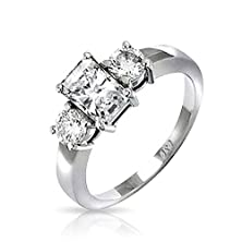 buy Bling Jewelry Sterling Silver 1.5 Ct Emerald Cut Cz Three Stone Engagement Ring More Sizes - 5