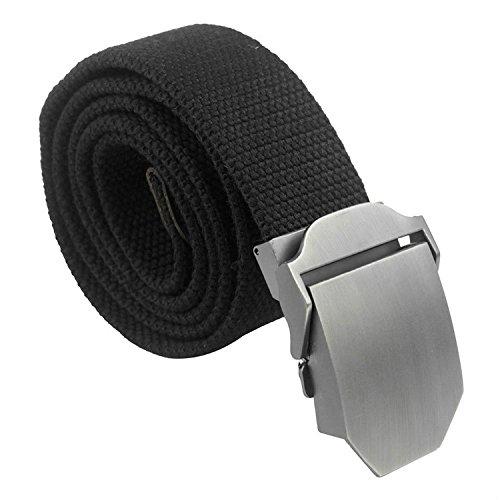 Tailcas® Cintura da uomo in Tessuto Tela tempo libero Adjustable Weave Web Waist Belt Waistband Cintura con Slider Buckle - (Nero)