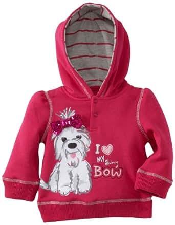 Watch Me Grow! by Sesame Street Baby Girls' I Love My Shiny Bow Hooded Sweatshirt, Pink Dark, 18 Months