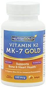 Vitamin K2 MK-7, 100 mcg, 120 Mini Softgels - The Gold Standard 100% Natural Vitamin K2 in Organic Olive Oil and Certified Free of GMOs and Allergens