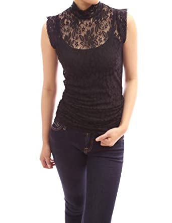 PattyBoutik Beautiful Black Floral Lace Eyelet Twinset Polo Neck Sleeveless Blouse Top (Black L)