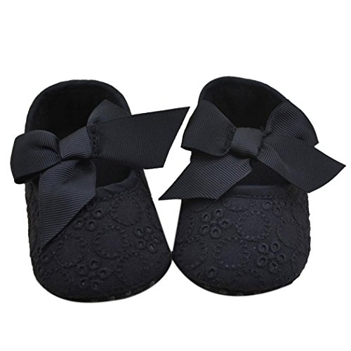 Creazy Durable Infant Girls Cotton Ribbon Bowknot Soft Bottom Flower Prewalker (13, Black)