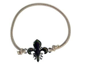 Fleur de lis charm mood bracelet tan grey bracelet with for Fashion jewelry that won t change color