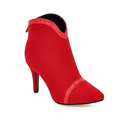 VogueZone009 Donna Scarpe A Punta Pelle Di Mucca Tacco Alto Puro Stivali con Metallo, Rosso, 36
