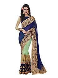 Suchi Fashion Embroidered Georgette Sea Green and Blue Saree