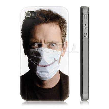Ecell - HUGH LAURIE AKA DR. GREGORY HOUSE SURGICAL MASK DESIGN CASE FOR iPHONE 4 4G 4S
