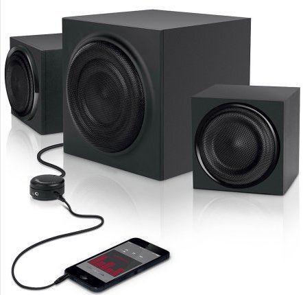 Click to buy 2.1 Computer Speakers with Subwoffer and AUX Cable Bundle - From only $69.95