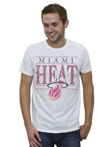 NBA Miami Heat Mens Vintage Heather Short Sleeve Crew T-Shirt, Electric White by Junk Food