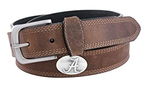 NCAA Alabama Crimson Tide Light Crazy Horse Leather Concho Belt by ZEP-PRO