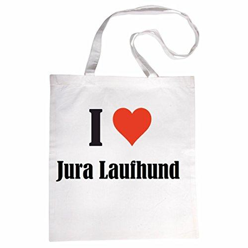"""Tasche""""I Love Jura Laufhund""""Größe""""38x42""""Farbe""""Weiss""""Druck""""Schwarz"""