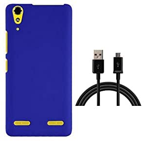 Tidel Stylish Rubberized Plastic Back Cover For Lenovo A6000 Plus ( Blue ) With USB Data Cable