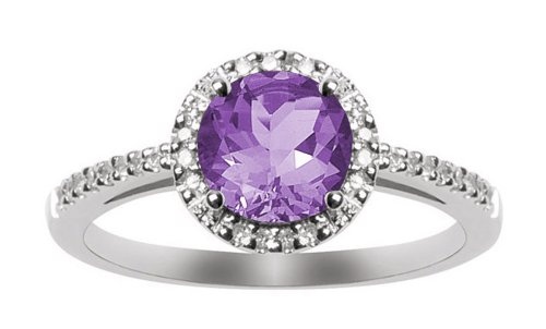 10k White Gold, February Birthstone, Amethyst and Diamond Ring