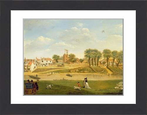 framed-print-of-the-old-parish-church-and-village-hampton-on-thames-middlesex-oil-on-panel