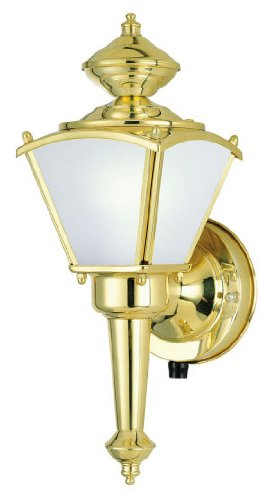 Westinghouse 64506 One-Light Outdoor Upward Wall Sconce, Polished Solid Brass with Frosted White Glass