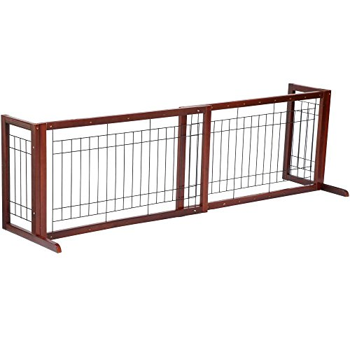 Yaheetech Free Standing Pet Gate Indoor Fence Baby Child Dog Cat Barrier Safety Wood Door (Freestanding Pet Barrier compare prices)