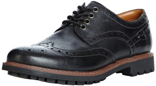 Clarks Montacute Wing 203510927, Scarpe stringate basse uomo, Nero (Schwarz (Black Leather)), 43