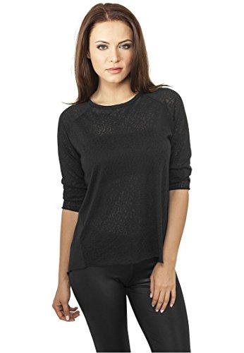 Ladies 3/4 Sleeve Wide Burnout Tee black M
