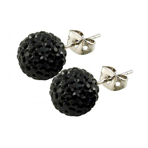 Tresor Paris 'Breel' Black Crystal Earrings, 10mm
