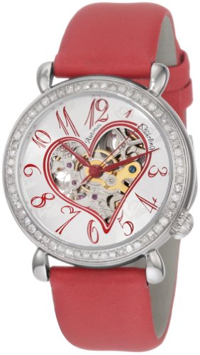 Stuhrling Original Women's 109S.1215H2 Amour Aphrodite Venus Automatic skeleton Genuine Diamond Red Leather Watch