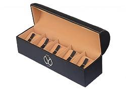 YStore Genuine Leather WatchBox - 5 slots-Black