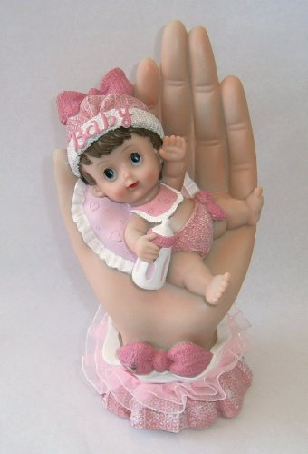 "Adorable Hand Painted Baby Girl Laying on Palm Statue Shower Gift Boxed Party Favor 7 1/2"" High x 4"" Wide DD011W-P"