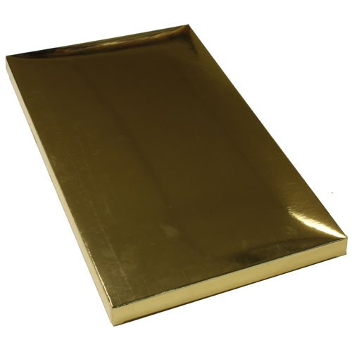 3 1/2 x 6 1/2 x 1/2 Gold Metallic Foil Gift Box (Jewelry Box) - Sold individually