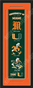 Heritage Banner Of Miami Hurricanes With Team Color Double Matting-Framed Awesome... by Art and More, Davenport, IA