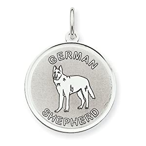 Sterling Silver German Shepherd Dog Disc Charm