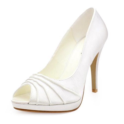 Women's Satin Upper Stiletto Heel Pumps/ Peep Toe With Ruched Wedding Bridal Shoes (Size: 6 B(M) US/Ivory)