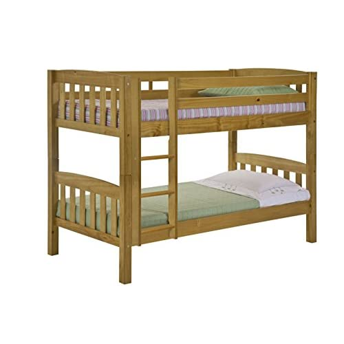 Pine Single Bunk Bed, Childrens America 3ft, Antique Finish, 5 Year Guarantee