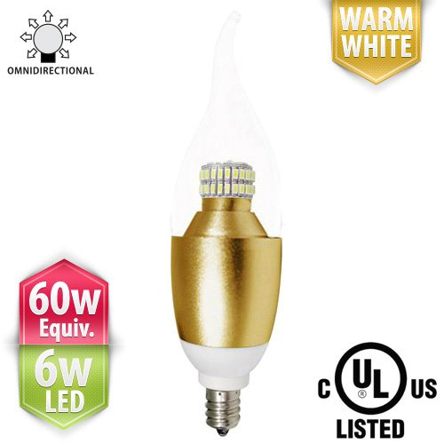 Paclights Cand50 Led Candelabra Extra Bright Light Bulb, 6 Watts, Warm / Soft White, Omni-Directional, 40W - 60W Equivalent Replacement (530 Lumens), E12 Candle Base, Ul Listed