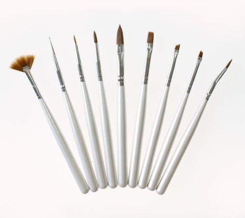 太めのジェルブラシ入り ネイルアート用筆9本セット ドットペン 平筆 斜めカット筆など