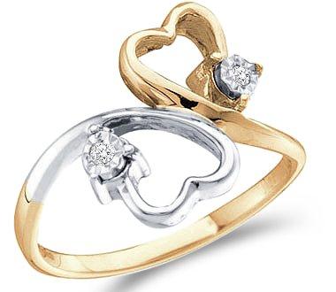 Diamond Heart Ring 10k White Yellow Gold Promise Band, Size 8.5